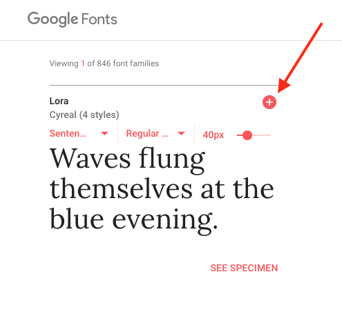 Choose a font from Google Fonts