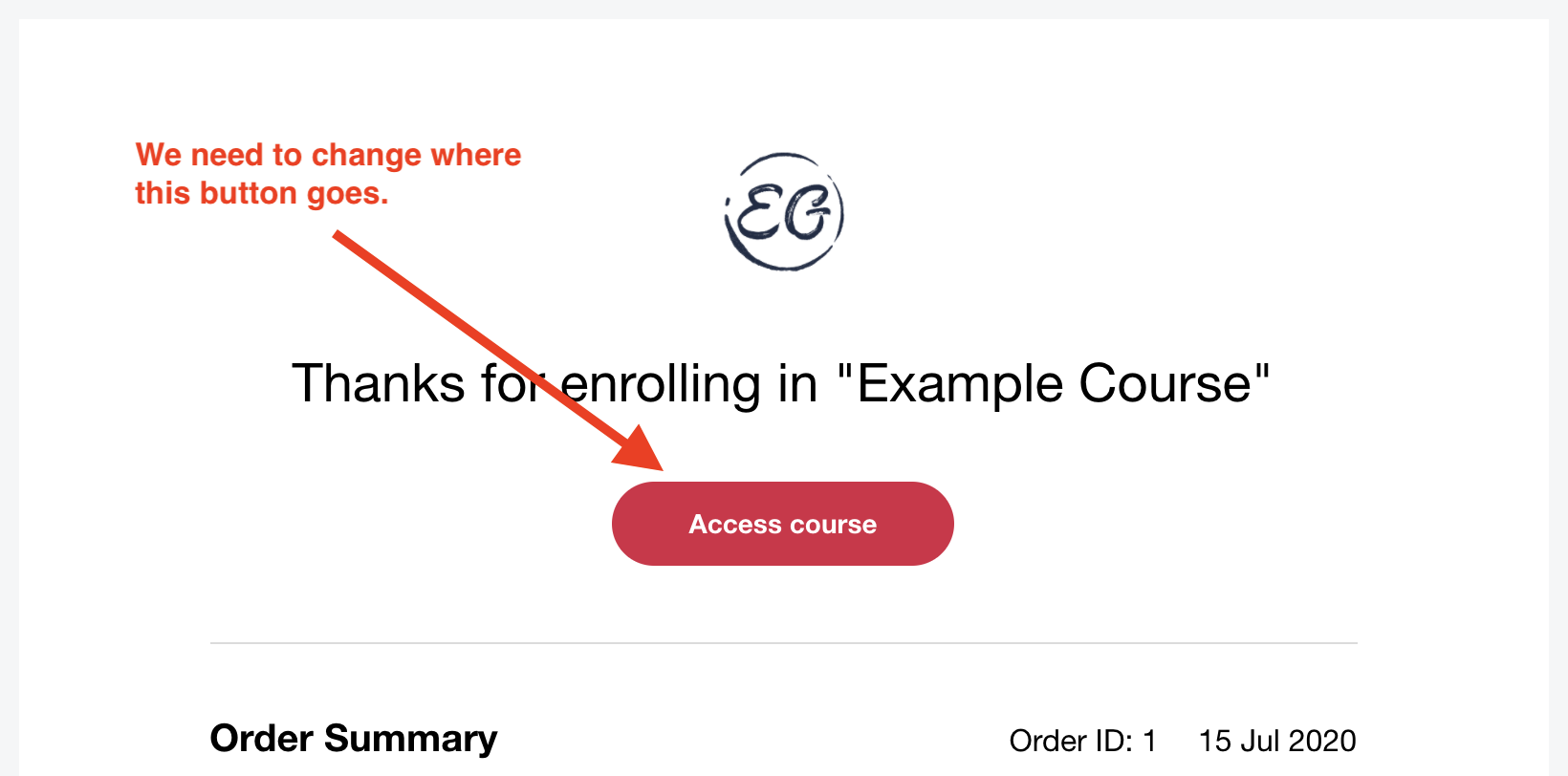 Updating Teachable's New Enrollment confirmation email
